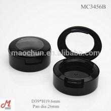 MC3456B Noir rond 26mm diamètre de panneau petit emballage unique en forme de fard à paupières, emballage en forme de fard à paupières en gros