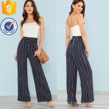 Navy strapless pinstriped breiten Bein Overall OEM / ODM Herstellung Großhandel Mode Frauen Bekleidung (TA7015J)