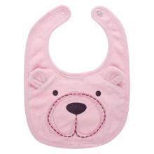 Babete promocional de bebê em toalha de algodão com urso rosa cartoon personalizado