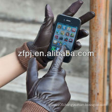 fashion sheepskin men smartphone gloves