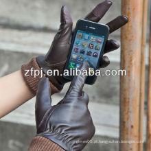 Luvas do smartphone das mulheres da pele de carneiro da forma