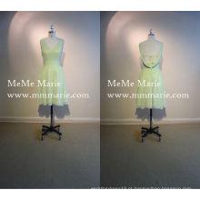 V Neck Backless Vestido de dama de honra Comprimento do joelho Vestido formal com faixa BYE-14035