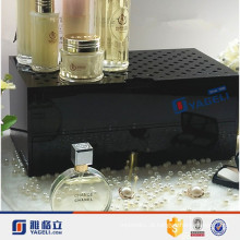 Atacado Cosmetic Counter Top Acrílico Perfume Display Stand com gaveta