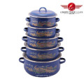 5PCS Enamel Pot Size 16-24cm Enamel Cookware Pot