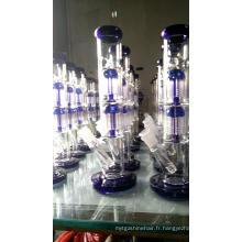 Tuyaux d'eau en verre droits avec doubles filtres