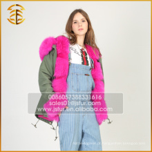 O mais novo genuíno estilo europeu Warm Jacket Women Fur Parka