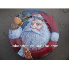 KC-02525santa pintado a mano cerámica placa de Navidad, placa de pastel