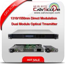 Professionelle Anbieter Hochleistungs-CATV Dual Modul 1310 / 1550nm direkt modulierten optischen Laser Transmitter