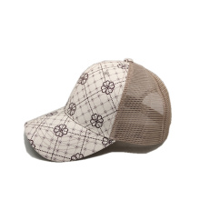 customized logo leather baseball cap mesh fabric