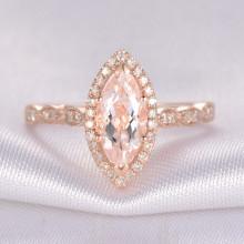 10x5mm Marquise Cut Morganite and Diamond Engagement Ring 14k Rose gold Milgrain Art Deco Stacking Band