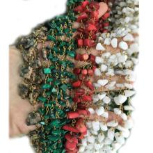 XULIN Venta al por mayor Turquesa Chip Wire Wrapped Rosary Beads Chain
