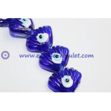 Hamsa evil eye beads terrific quality scalloped glass beads navy blue
