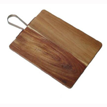 Acacia wood chopping block with metal handle