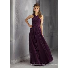 Lila Chiffon Eine Linie Brautjungfer Kleid