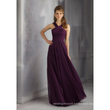 Purple Chiffon A Line Bridesmaid Dress