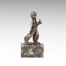 Statue de la figure des enfants Serveur arabe Garçon Bronze Sculpture TPE-706