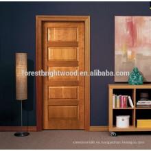 Diseño clásico de puertas de madera, puertas interiores ensambladas de roble de 5 paneles