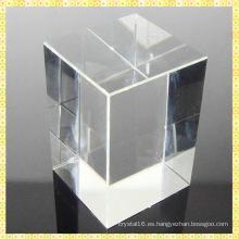 Pieza cristalina al por mayor del cristal del cubo de bloque cristalino en blanco K9
