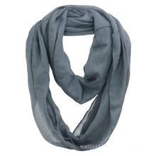 Women Fashion Plain Color Cotton Voile Infinity Fall Scarf (YKY1111)