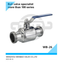 Válvula de esfera limpa de rosca macho 304L 3/4 de polegada Pn16