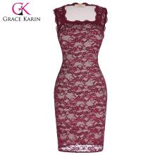 Grace Karin mujeres sin mangas de cuello cuadrado Bodycon rojo vestido de fiesta de encaje Vintage Club desgaste CL010448-2
