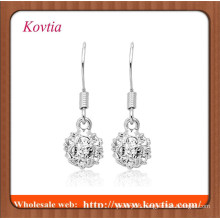 fashion fake diamond ball pendant earring handmade silver crochet earring