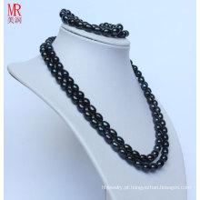 Fantasia preto real colar de pérolas conjunto pulseira (es1319)