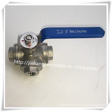 Stainless Steel 3 Way Ball Valve, L Port Three Way Ball Valve Handle