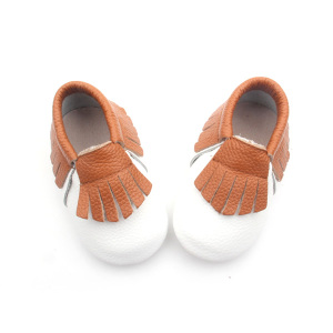 Kasut Kulit White Brown Baby Moccasin Shoes