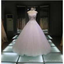 2017 Cap рукавом Trouwjurk романтический 3D цветок кружева бисером бальное платье сексуальная видеть-через свадебное платье свадебные платья Tiamero 1A1115