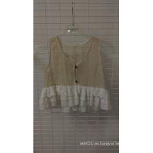 Encaje de volantes chaleco de algodón de capa de la capa de encaje y Chifon ropa