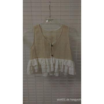 Spitze-Rüsche-Weste-Baumwollkörper-Schicht-Spitze und Chifon-Kleidung