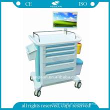 AG-WNT001 Notfallwagen mit Schubladen zugelassen ABS Medical Trolley