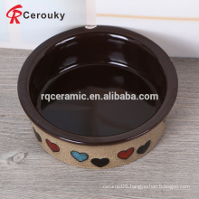 Custom printed round durable ceramic stoneware cat bowl with decal