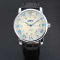 mininalist winner watch with date design leather band