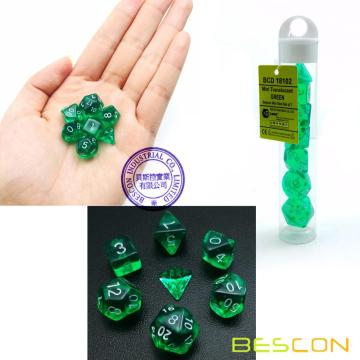 Bescon Mini Translucent Polyhedral RPG Dice Set 10MM, Small RPG Role Playing Game Dice Set D4-D20 in Tube, Transparent Green