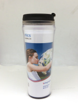 Large double wall plastic promotion customize logo cup with lid