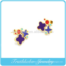 TKB-E0010 Red and White flower Earrings in 10K Gold and Enamel