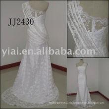 2011 neueste Ankunft des niedrigen Preises des Verschiffens hochwertiges kurzes reales Spitze-Brautkleid JJ2430