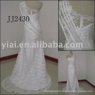 2011 mais recente chegada preço baixo frete grátis de alta qualidade curto vestido de noiva de renda real JJ2430