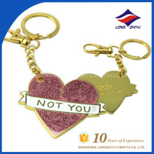 Decorative heart shape pink gold color metal key chain