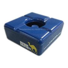 Cenicero azul cuadrado con tapa