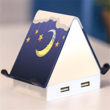 Haus Schreibtisch Tischlampe LED Nachtlicht mit 4 Anschlüssen USB Ladegerät Telefon Stand