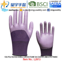 13G Polyester Shell Foam Latex 3/4 Coated, Smooth Finish Gloves (L2613) with CE, En388, En420, Work Gloves
