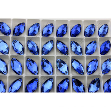 9X18mm Capri Blue Dz-3066 Navette Stone Sew on Rhinestone with 2 Holes