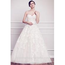 Modische Ballkleid Liebsten Spitze Appliqued Brautkleid 2015 White Tulle Gericht Zug Vestido De Noiva Longo