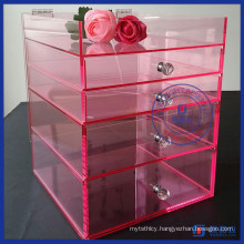 Yageli Baby Pink Fashion Design Acrylic Makeup Organizer with Handle Supplier