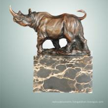 Animal Bronze Sculpture Rhinoceros Carving Brass Statue Tpal-285