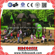 ASTM Standard Natural Wood Color Style Outdoor Children Playground Equipment
