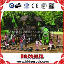 Equipamento exterior do campo de jogos das crianças do estilo de madeira natural padrão da cor de ASTM